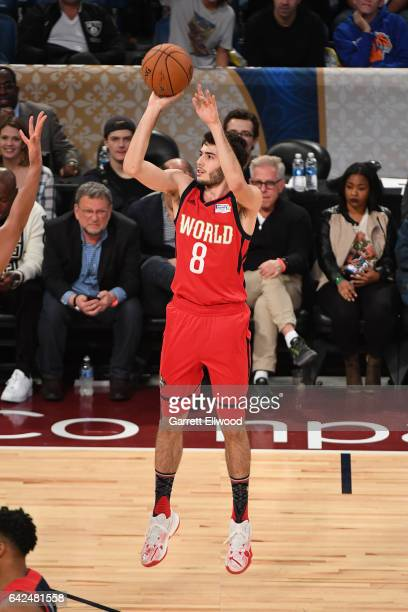 Alex Abrines of the World Team shoots the ball during the BBVA Compass Rising Stars Challenge as part of 2017 AllStar Weekend at the Smoothie King...