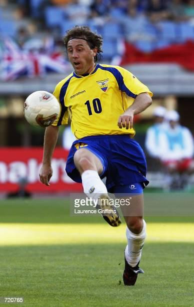 Alex Aguinaga of Ecuador controls the ball during the FIFA World Cup Finals 2002 Group G match between Mexico and Ecuador played at the Miyagi...