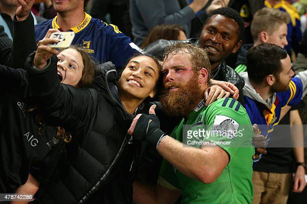 Alex Ainley of the Highlanders poses for a selfie following the Super Rugby Semi Final match between the Waratahs and the Highlanders at Allianz...