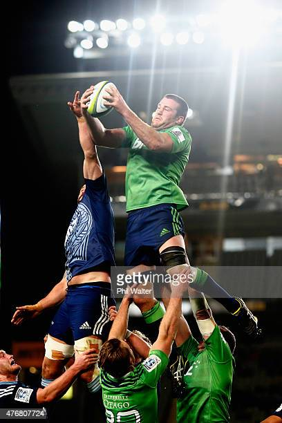 Alex Ainley of the Highlanders takes lineout ball during the round 18 Super Rugby match between the Blues and the Highlanders at Eden Park on June 12...