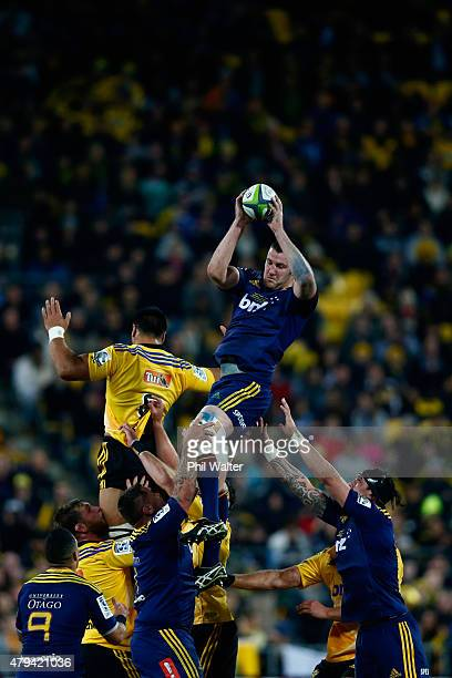 Alex Ainley of the Highlanders takes the ball in the lineout during the Super Rugby Final match between the Hurricanes and the Highlanders at Westpac...