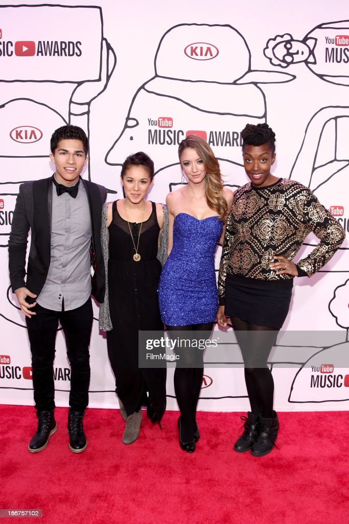 Alex Aiono, Kina Grannis, <a gi-track='captionPersonalityLinkClicked' href=/galleries/search?phrase=Taryn+Southern&family=editorial&specificpeople=795769 ng-click='$event.stopPropagation()'>Taryn Southern</a> and Franchesca Ramsey attend the 2013 YouTube Music awards at Pier 36 on November 3, 2013 in New York City.