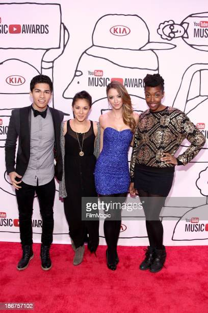 Alex Aiono Kina Grannis Taryn Southern and Franchesca Ramsey attend the 2013 YouTube Music awards at Pier 36 on November 3 2013 in New York City