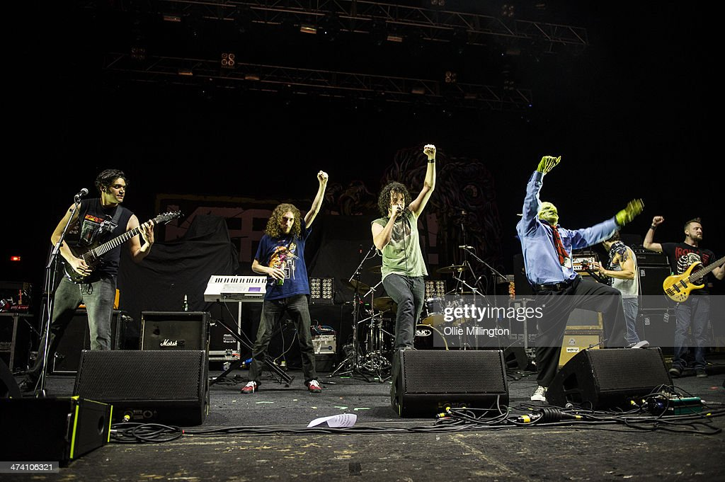 Alex Alereza, Aaron Minich, Scorpion and John Goblikon of Nekrogoblikon perform on the last night of the Kerrang Tour onstage at Brixton Academy on February 21, 2014 in London, United Kingdom.