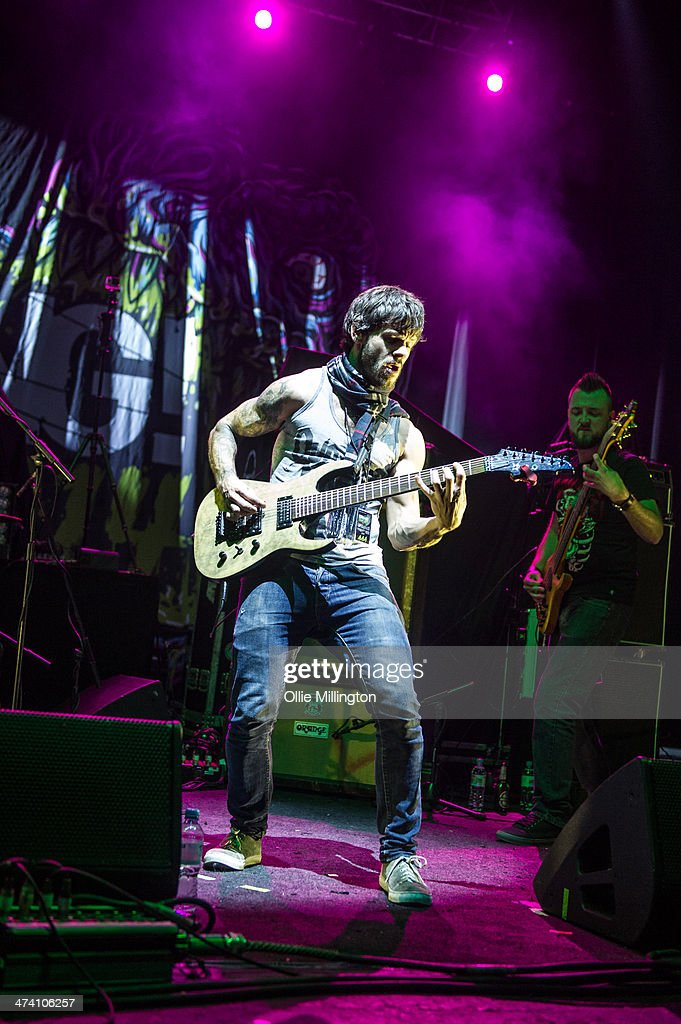 Alex Alereza of Nekrogoblikon performs on the last night of the Kerrang Tour onstage at Brixton Academy on February 21, 2014 in London, United Kingdom.