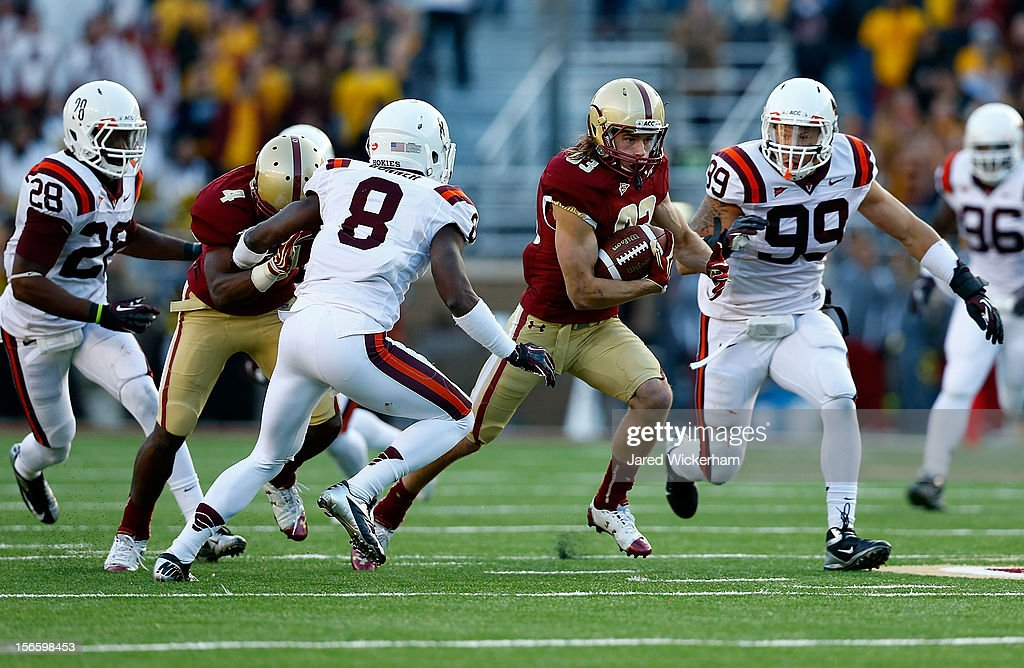 Alex Amidon #83 of the Boston College Eagles runs with the ball after catching a pass against the Virginia Tech Hokies during the game on November 17, 2012 at Alumni Stadium in Chestnut Hill, Massachusetts.