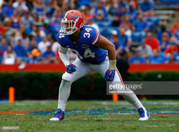 Alex Anzalone of the Florida Gators lines up during the game against the Eastern Michigan Eagles at Ben Hill Stadium on September 6 2014 in...