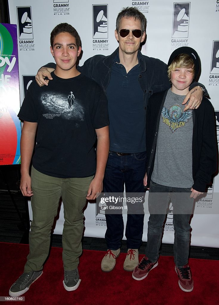 Alex Arnaout, Dave Krusen and his son Jagger attend 'Happy On The Ground: 8 Days At Grammy Camp' at The GRAMMY Museum on February 5, 2013 in Los Angeles, California.