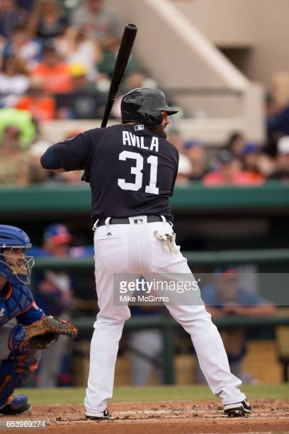 Alex Avia of the Detroit Tigers in action during the Spring Training game against the New York Mets at Miller Park on March 12 2017 in Lakeland...