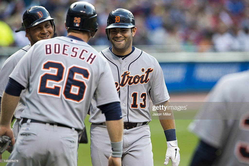 <a gi-track='captionPersonalityLinkClicked' href=/galleries/search?phrase=Alex+Avila&family=editorial&specificpeople=5749211 ng-click='$event.stopPropagation()'>Alex Avila</a> #13 celebrates with <a gi-track='captionPersonalityLinkClicked' href=/galleries/search?phrase=Brennan+Boesch&family=editorial&specificpeople=6754960 ng-click='$event.stopPropagation()'>Brennan Boesch</a> #26 and <a gi-track='captionPersonalityLinkClicked' href=/galleries/search?phrase=Jhonny+Peralta&family=editorial&specificpeople=213286 ng-click='$event.stopPropagation()'>Jhonny Peralta</a> #27 of the Detroit Tigers after Avila hit a three run home run during the second inning against the Cleveland Indians at Progressive Field on May 22, 2012 in Cleveland, Ohio.