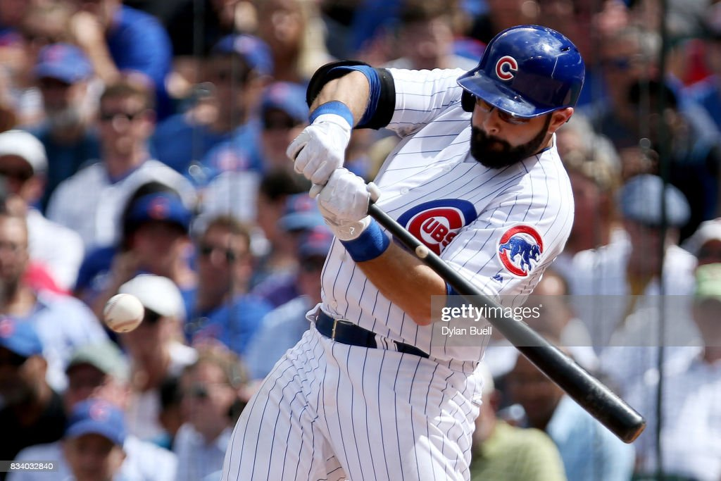 Alex Avila #13 of the Chicago Cubs hits a home run in the fourth inning against the Cincinnati Reds at Wrigley Field on August 17, 2017 in Chicago, Illinois.