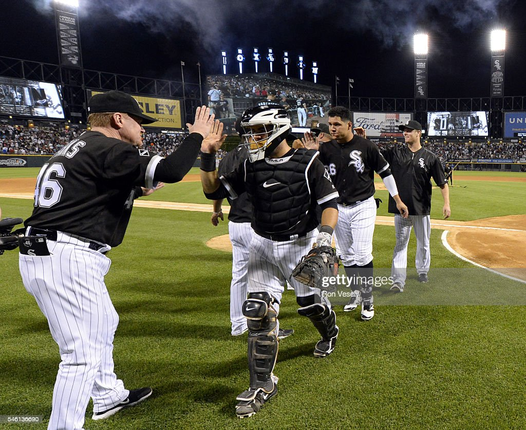 Alex Avila of the Chicago White Sox celebrates with teammates after the game against the Toronto Blue Jays on June 24 2016 at US Cellular Field in...