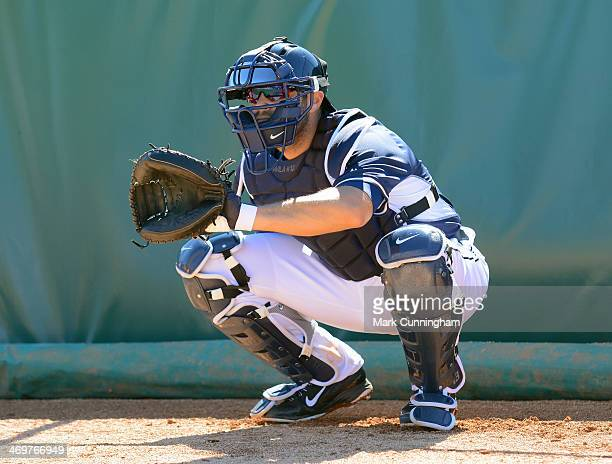 Alex Avila of the Detroit Tigers catches during the spring training workout day at the TigerTown Complex on February 14 2014 in Lakeland Florida