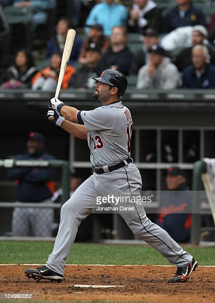 Alex Avila of the Detroit Tigers hits a gametying tworun home run in the 9th inning against the Chicago White Sox at US Cellular Field on September...