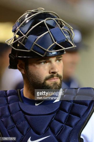 Alex Avila of the Detroit Tigers looks on against the Texas Rangers during Game Three of the American League Championship Series at Comerica Park on...