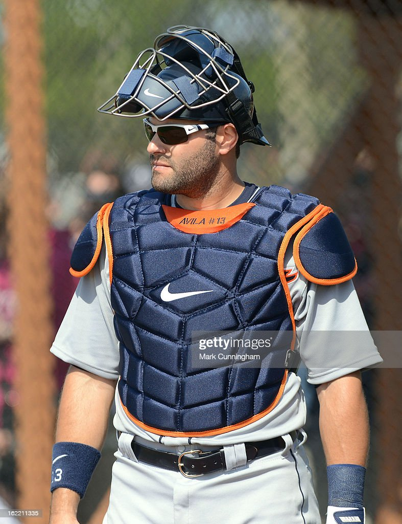 <a gi-track='captionPersonalityLinkClicked' href=/galleries/search?phrase=Alex+Avila&family=editorial&specificpeople=5749211 ng-click='$event.stopPropagation()'>Alex Avila</a> #13 of the Detroit Tigers looks on during Spring Training workouts at the TigerTown Facility on February 20, 2013 in Lakeland, Florida.
