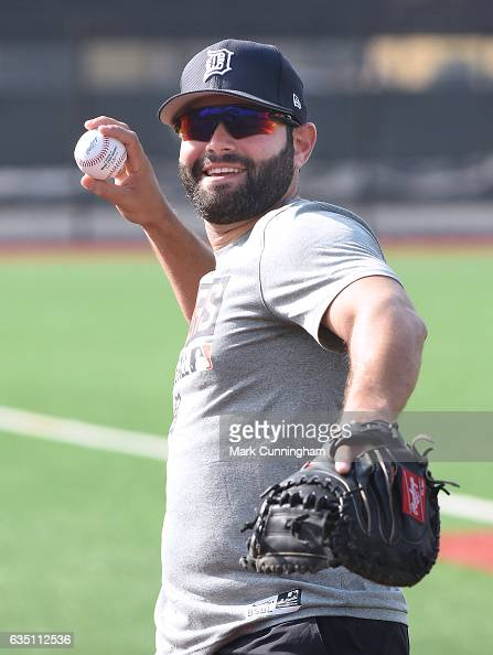 Alex Avila of the Detroit Tigers looks on during Spring Training workouts at the TigerTown complex on February 13 2017 in Lakeland Florida