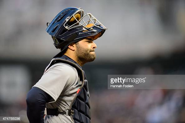 Alex Avila of the Detroit Tigers looks on during the game against the Minnesota Twins on April 27 2015 at Target Field in Minneapolis Minnesota