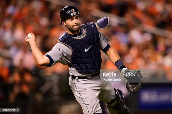 Alex Avila of the Detroit Tigers makes a play in the fourth inning against the Baltimore Orioles during Game One of the American League Division...
