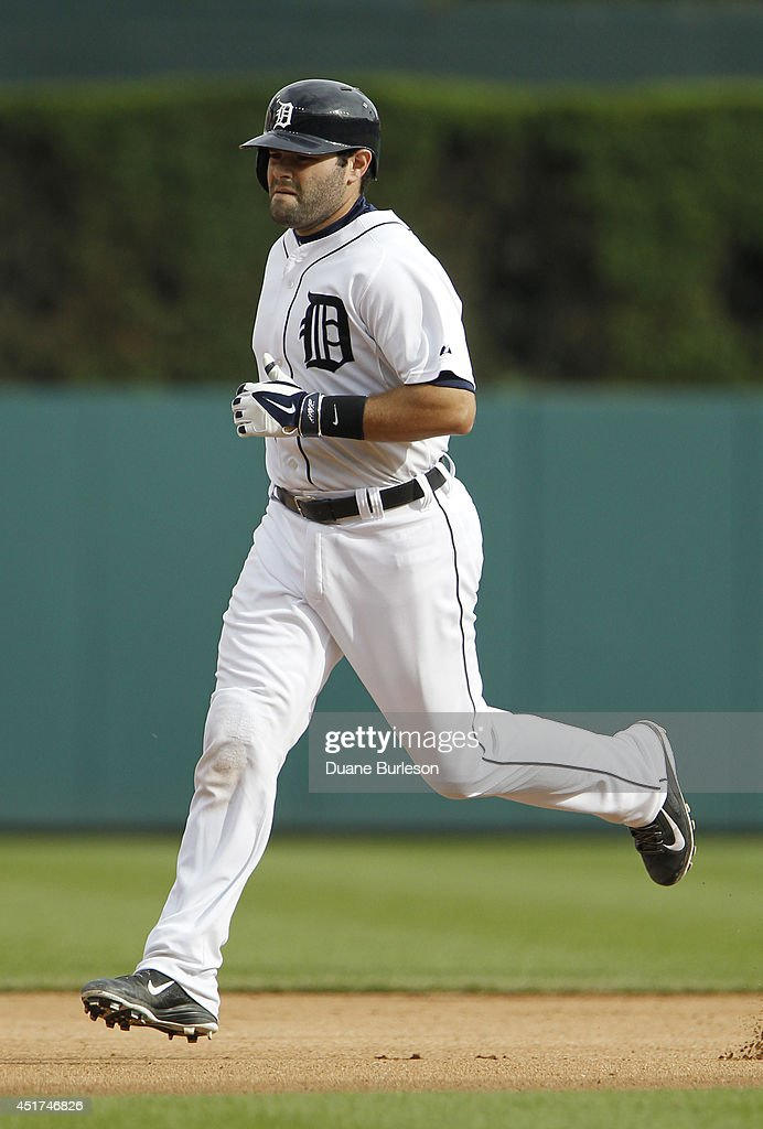 Alex Avila #13 of the Detroit Tigers rounds the bases after hitting a solo home run against the Tampa Bay Rays during the seventh inning at Comerica Park on July 5, 2014 in Detroit, Michigan. The Rays defeated the Tigers 7-2.