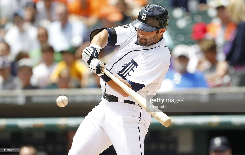 Alex Avila of the Detroit Tigers singles to center field scoring teammate Miguel Cabrera in the second inning during the game against the Seattle...