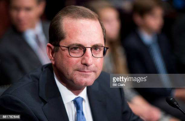 Alex Azar nominee to be Health and Human Services Secretary takes his seat for his confirmation hearing in the Senate Health Education Labor and...
