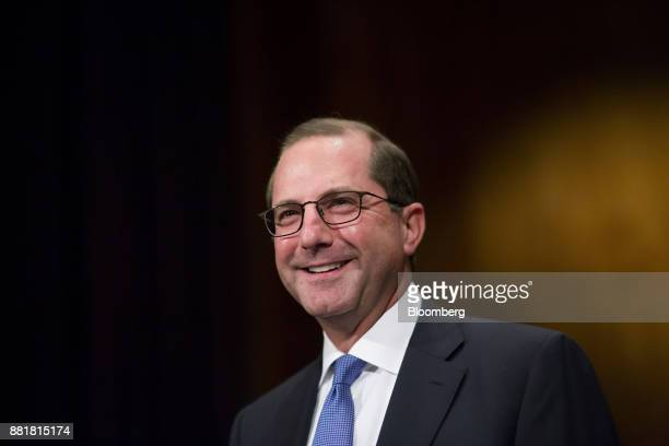 Alex Azar secretary of Health and Human Services nominee for US President Donald Trump smiles during a Senate Health Education Labor and Pension...
