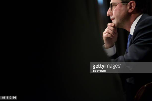 Alex Azar secretary of Health and Human Services nominee for US President Donald Trump listens during a Senate Health Education Labor and Pension...