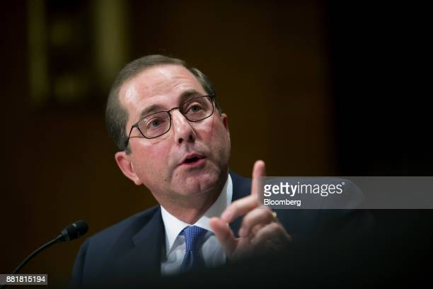 Alex Azar secretary of Health and Human Services nominee for US President Donald Trump speaks during a Senate Health Education Labor and Pension...