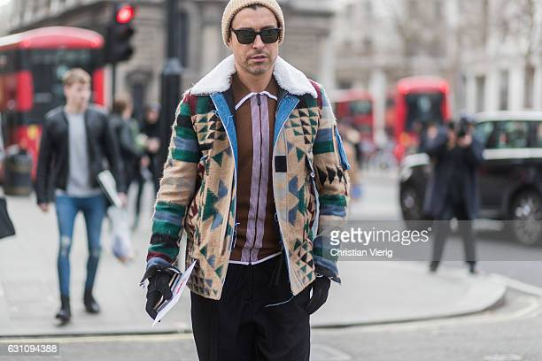 Alex Badia during London Fashion Week Men's January 2017 collections at Xander Zhou on January 6 2017 in London England