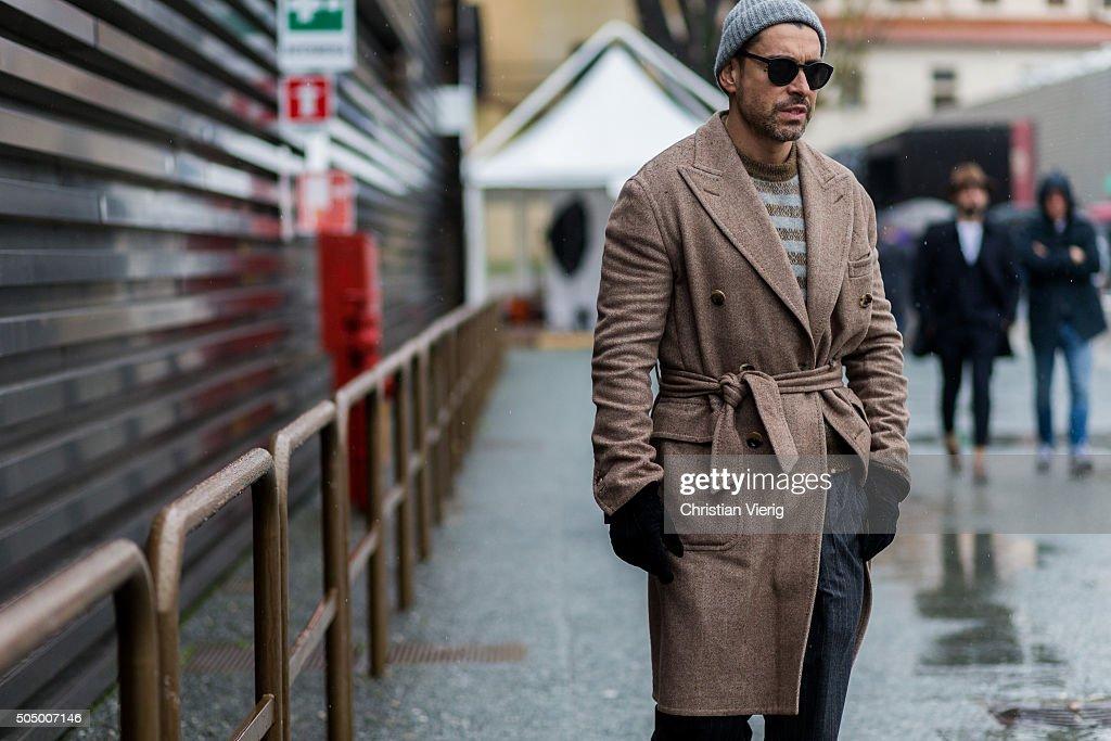Alex Badia during Pitti Uomo 89 on January 14 in Florence Italy