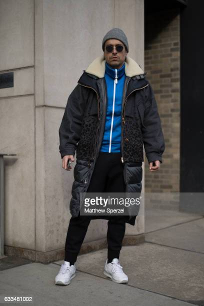 Alex Badia is seen attending Patrik Ervell/You As/John Elliott wearing Color Burberry Neil Barrett Tim Coppens on February 1 2017 in New York City