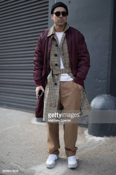 Alex Badia is seen attending Stampd/Willy Chavarria/Orley while wearing a Burberry coat Club Monaco sweater Amii pants and Reebocks sneakers on...