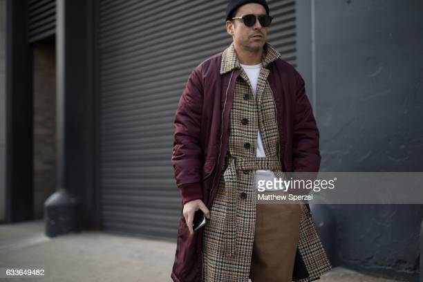Alex Badia is seen attending Stampd/Willy Chavarria/Orley while wearing a Burberry coat Club Monaco sweater Amii pants on February 2 2017 in New York...