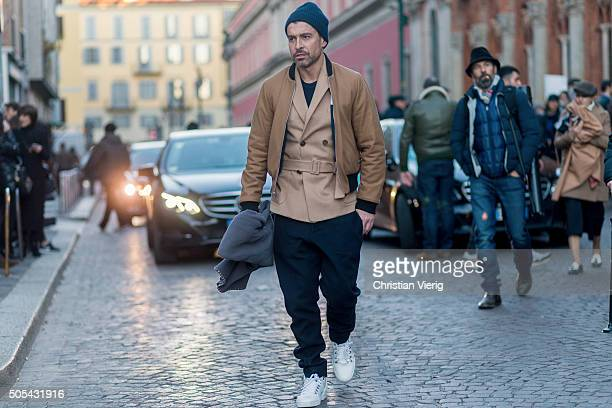 Alex Badia outside Missoni during Milan Men's Fashion Week Fall/Winter 2016/17 on January 17 in Milan Italy