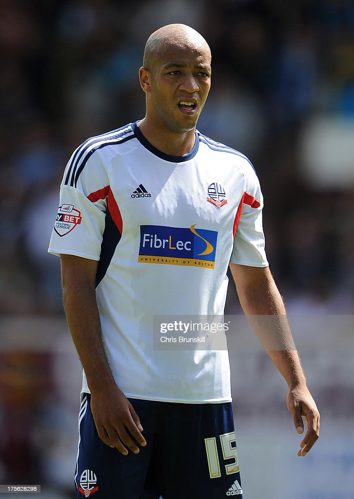 <a gi-track='captionPersonalityLinkClicked' href=/galleries/search?phrase=Alex+Baptiste&family=editorial&specificpeople=5713744 ng-click='$event.stopPropagation()'>Alex Baptiste</a> of Bolton Wanderers looks on during the Sky Bet Championship match between Burnley and Bolton Wanderers at Turf Moor on August 03, 2013 in Burnley, England.
