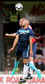 Alex Baptiste of Middlesbrough heads the ball during the pre season friendly match between York City and Middlesbrough at Bootham Crescent on July 9...