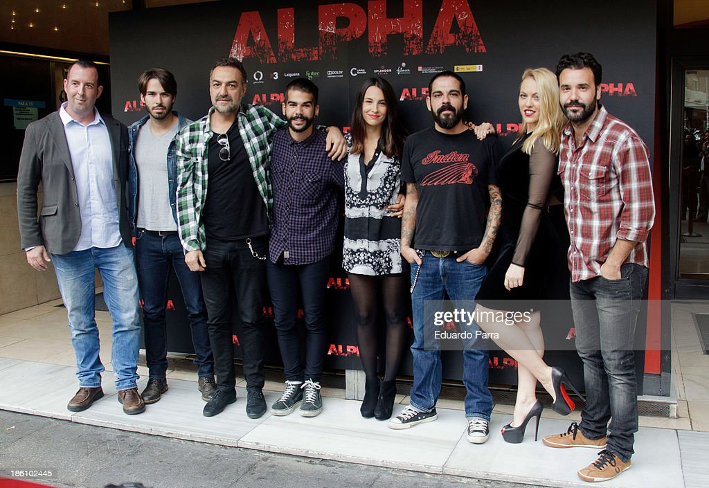 Alex Barahona (2L), Juan Carlos Vellido (3L) Xenia Tostado (5L), Joan Cutrina (3R), Daniela Blume (2R) and Miquel Fernandez (1R) attend 'Alpha' press conference photocall at Princesa cinema on October 28, 2013 in Madrid, Spain.