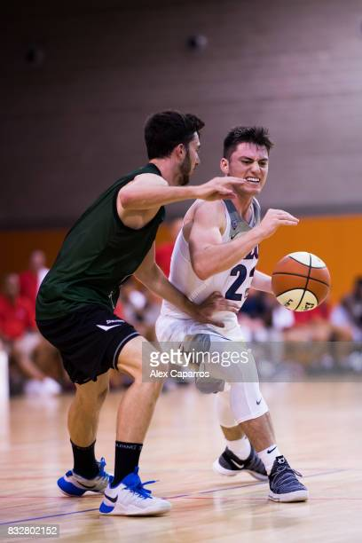Alex Barcello of the Arizona Wildcats advances against Sergi Costa of the Mataro AllStars during the Arizona In Espana Foreign Tour game between...