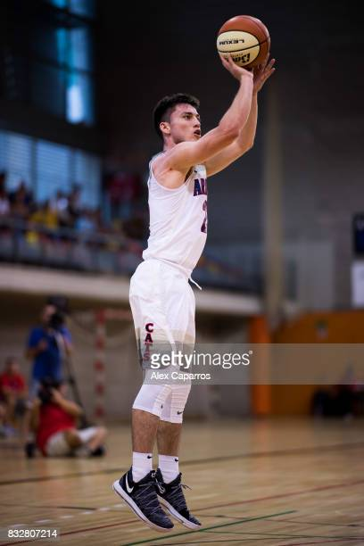 Alex Barcello of the Arizona Wildcats shoots during the Arizona In Espana Foreign Tour game between Mataro AllStars and Arizona on August 16 2017 in...