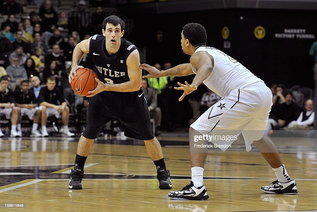 Alex Barlow #3 of the Butler Bulldogs plays against the Vanderbilt Commodores at Memorial Gym on December 29, 2012 in Nashville, Tennessee.