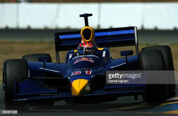 Alex Barron drives the Red Bull Cheever Racing Dallara Toyota during the IRL IndyCar Series Argent Mortgage Indy Grand Prix on August 28 2005 at the...