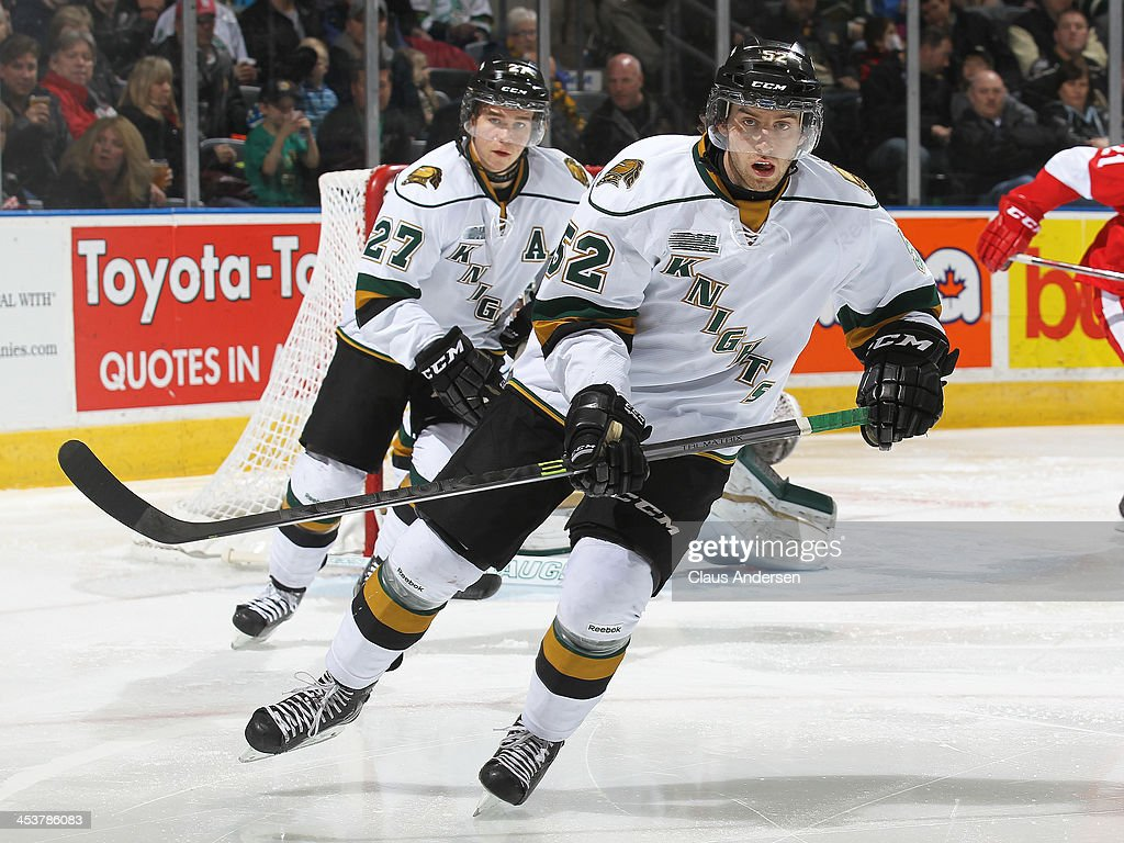 Alex Basso #52 of the London Knights skates against the Sault Ste. Marie Greyhounds during an OHL game at the Budweiser Gardens on December 4, 2013 in London, Ontario, Canada. The Knights defeated the Greyhounds 3-2.
