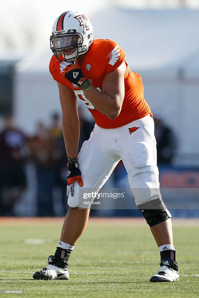 Alex Bayer of the Bowling Green Falcons lines up for a play during the game against the Kent State Golden Flashes on November 17 2012 at Doyt Perry...