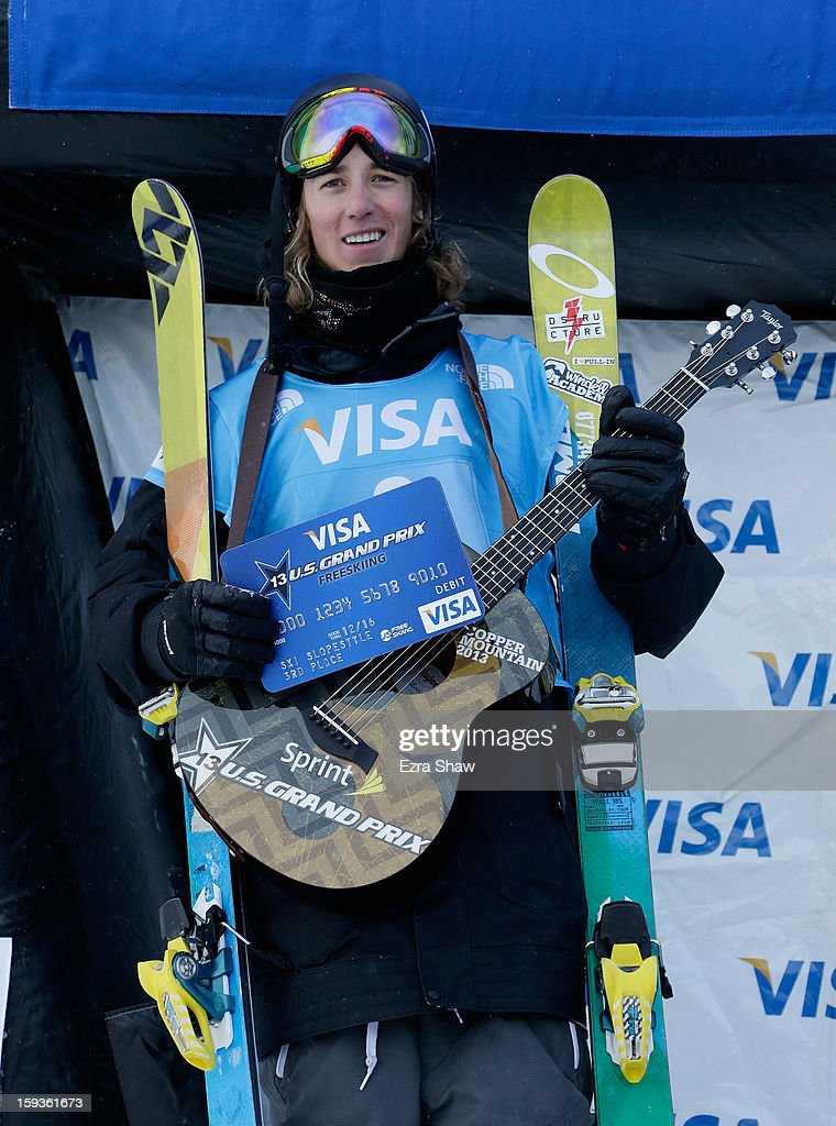 Alex Beaulieu-Marchand of Canada stands on the podium after placing second in the FIS Freestyle Ski World Cup men's slope style final at the U.S. Grand Prix on January 12, 2013 in Copper Mountain, Colorado.