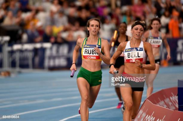 Alex Bell of England and Annalise Rubie of Australia competing in the Mixed 2000m Relay during Nitro Athletics at Lakeside Stadium on February 11...