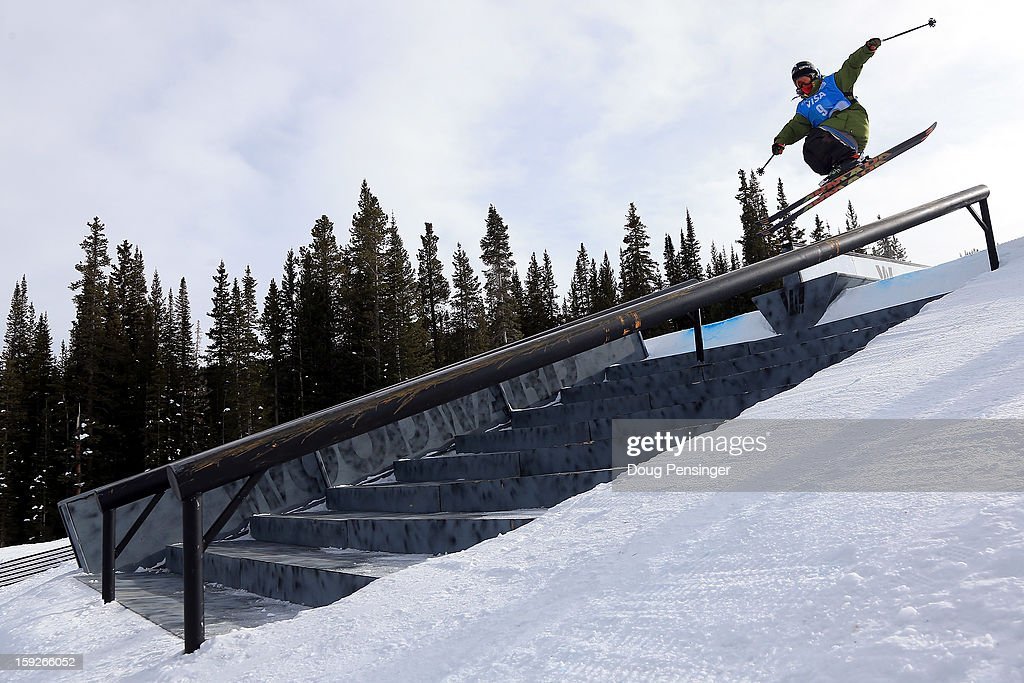 Alex Bellemare of Canada launches onto a rail as he competes during qualification for the FIS Freestyle Ski Slope Style World Cup on January 10, 2013 in Copper Mountain, Colorado.