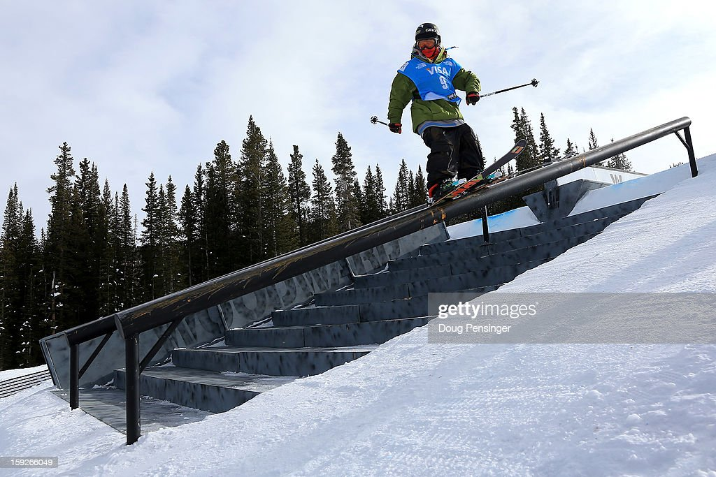 Alex Bellemare of Canada slide a rail as he competes during qualification for the FIS Freestyle Ski Slope Style World Cup on January 10, 2013 in Copper Mountain, Colorado.