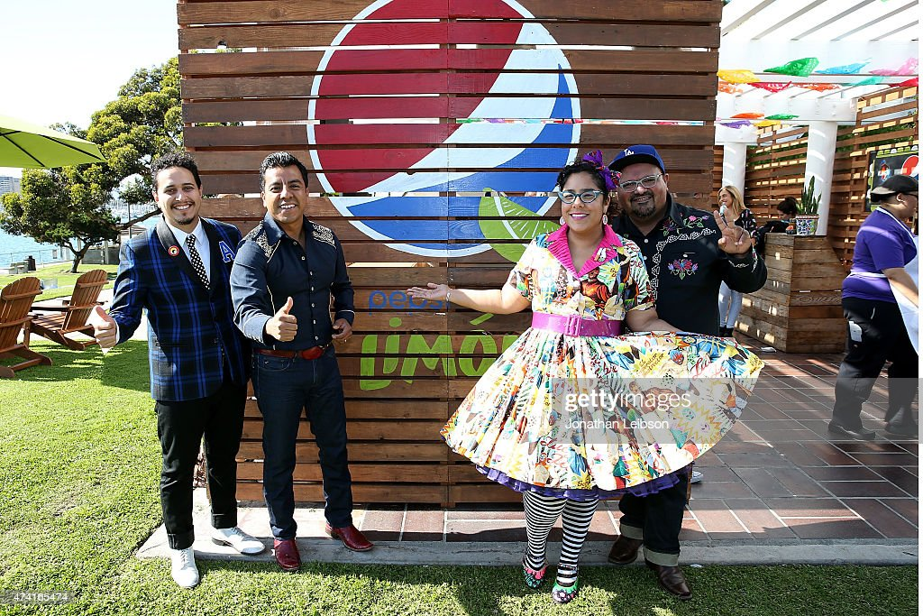 Alex Bendana Andres Torres Marisoul Hernandez and Marco Sandoval of the group La Santa Cecilia attend the Pepsi Celebrates The Launch Of Pepsi Limon...