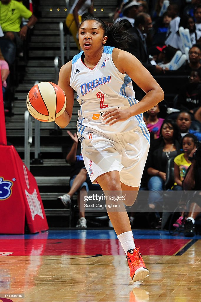 Alex Bentley #2 of the Atlanta Dream brings the ball up court against the Indiana Fever at Philips Arena on June 25, 2013 in Atlanta, Georgia.